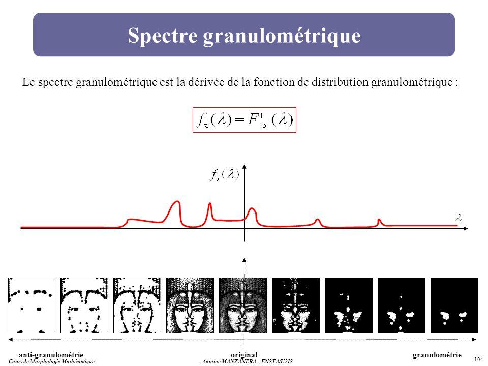 Cours de Morphologie MathématiqueAntoine MANZANERA – ENSTA/U2IS 104 Spectre granulométrique originalgranulométrieanti-granulométrie Le spectre granulo