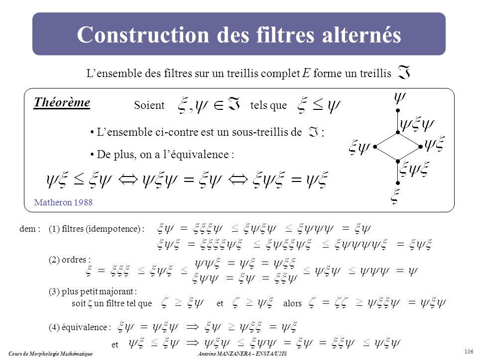 Cours de Morphologie MathématiqueAntoine MANZANERA – ENSTA/U2IS 106 Construction des filtres alternés Lensemble des filtres sur un treillis complet E
