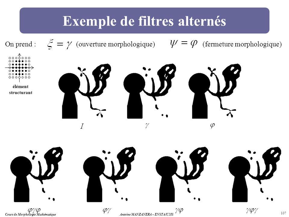 Cours de Morphologie MathématiqueAntoine MANZANERA – ENSTA/U2IS 107 Exemple de filtres alternés élément structurant On prend :(ouverture morphologique