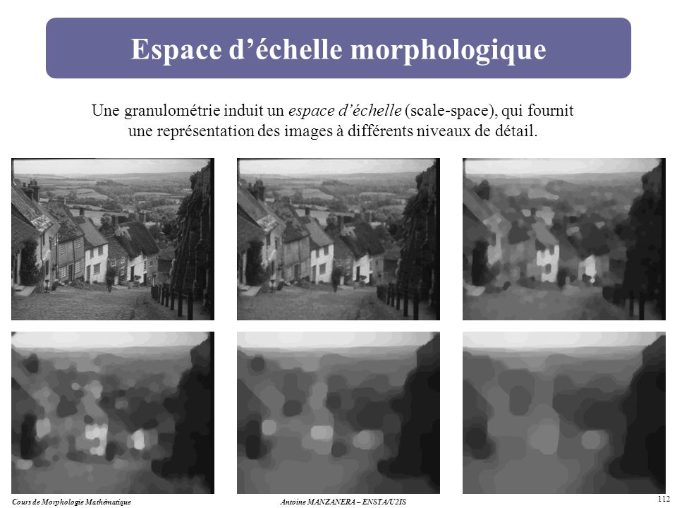 Cours de Morphologie MathématiqueAntoine MANZANERA – ENSTA/U2IS 112 Espace déchelle morphologique Une granulométrie induit un espace déchelle (scale-s