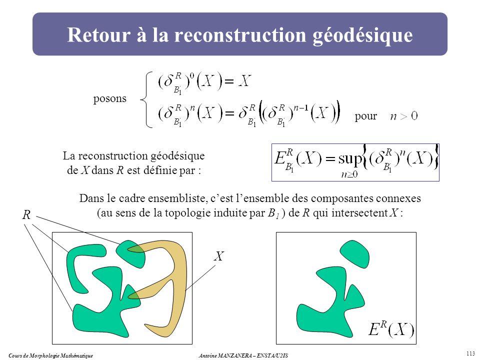 Cours de Morphologie MathématiqueAntoine MANZANERA – ENSTA/U2IS 113 Retour à la reconstruction géodésique pour posons La reconstruction géodésique de
