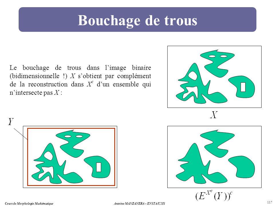 Cours de Morphologie MathématiqueAntoine MANZANERA – ENSTA/U2IS 117 Bouchage de trous Le bouchage de trous dans limage binaire (bidimensionnelle !) X