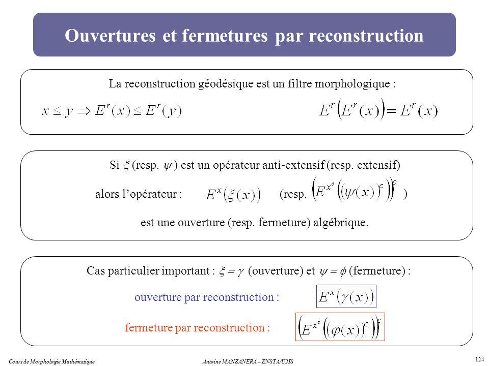 Cours de Morphologie MathématiqueAntoine MANZANERA – ENSTA/U2IS 124 Ouvertures et fermetures par reconstruction La reconstruction géodésique est un fi