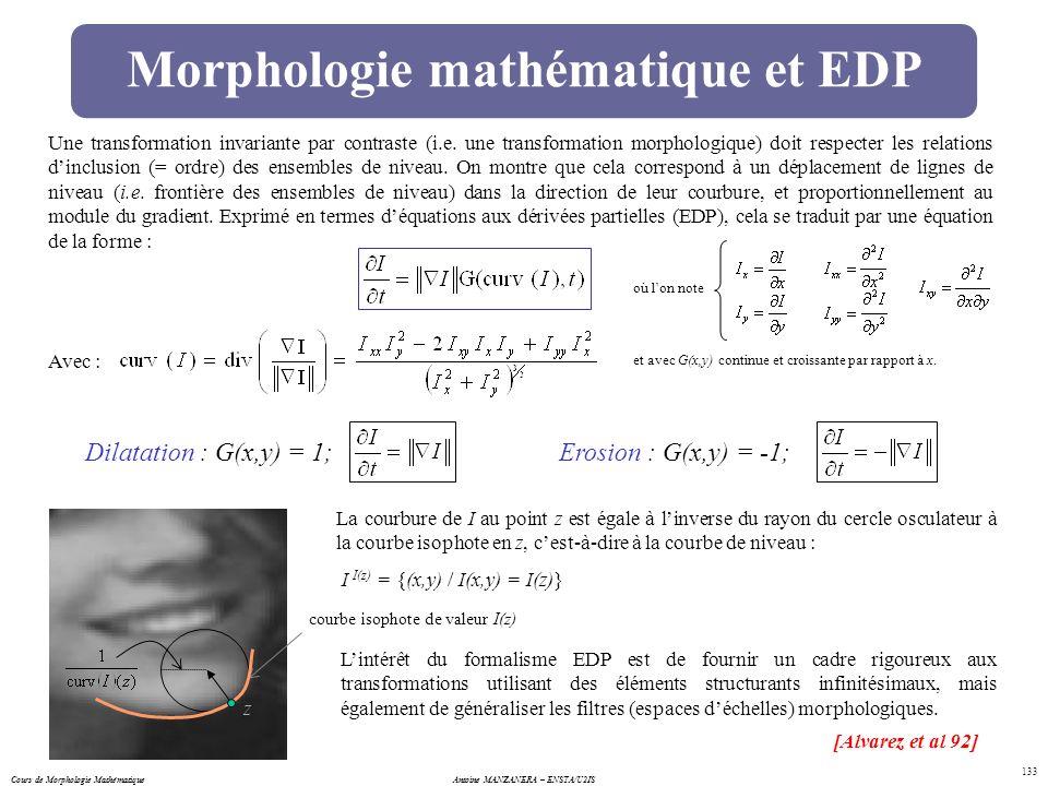 Cours de Morphologie MathématiqueAntoine MANZANERA – ENSTA/U2IS 133 Morphologie mathématique et EDP Une transformation invariante par contraste (i.e.