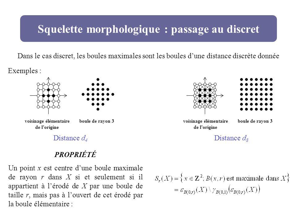 Squelette morphologique : passage au discret PROPRIÉTÉ Un point x est centre dune boule maximale de rayon r dans X si et seulement si il appartient à