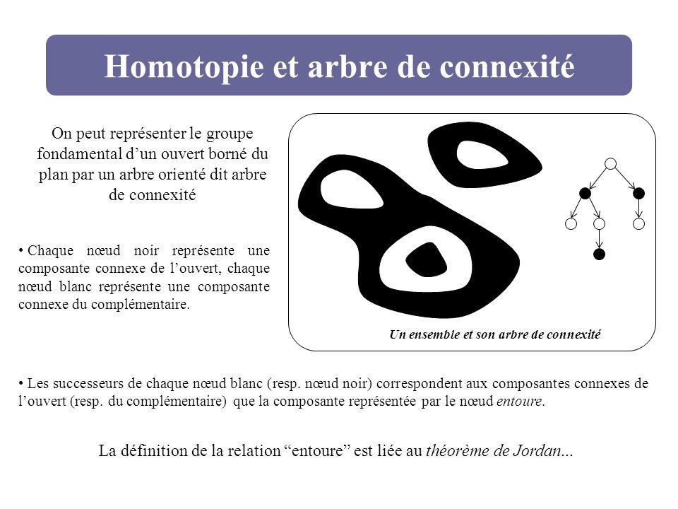Homotopie et arbre de connexité Un ensemble et son arbre de connexité On peut représenter le groupe fondamental dun ouvert borné du plan par un arbre