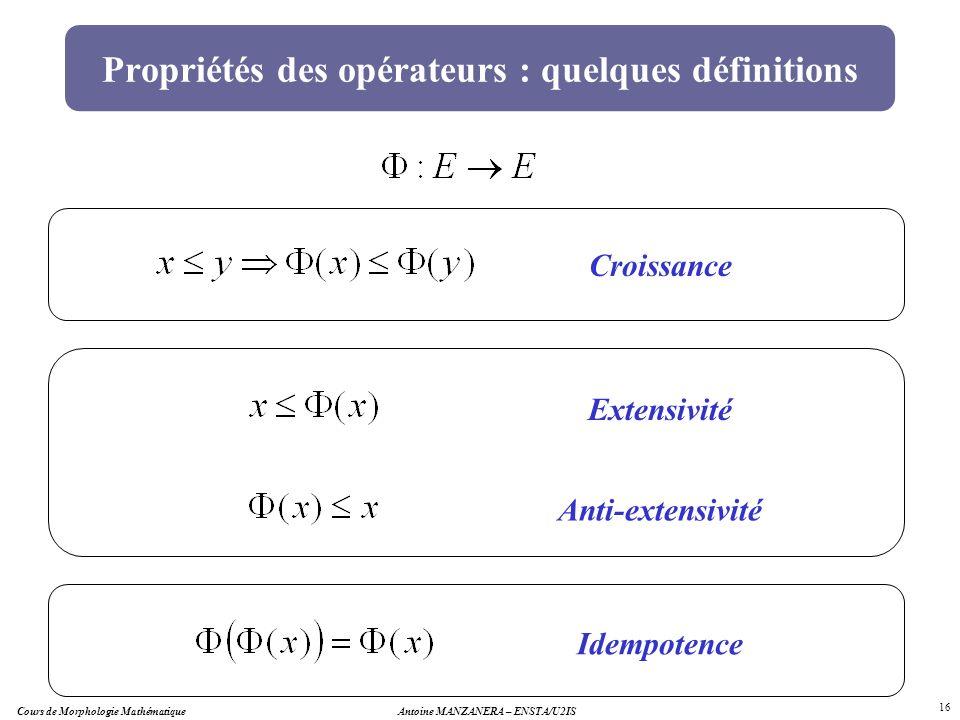 Antoine MANZANERA – ENSTA/U2IS 16 Propriétés des opérateurs : quelques définitions Idempotence Croissance Extensivité Anti-extensivité Cours de Morpho