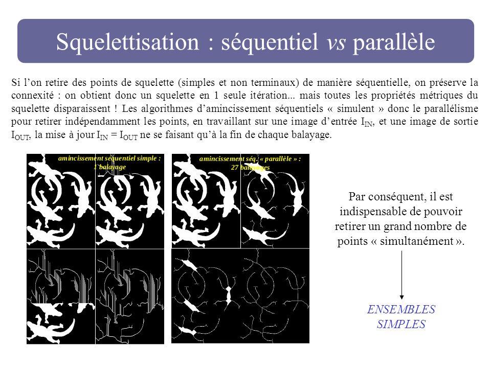 Squelettisation : séquentiel vs parallèle Si lon retire des points de squelette (simples et non terminaux) de manière séquentielle, on préserve la con