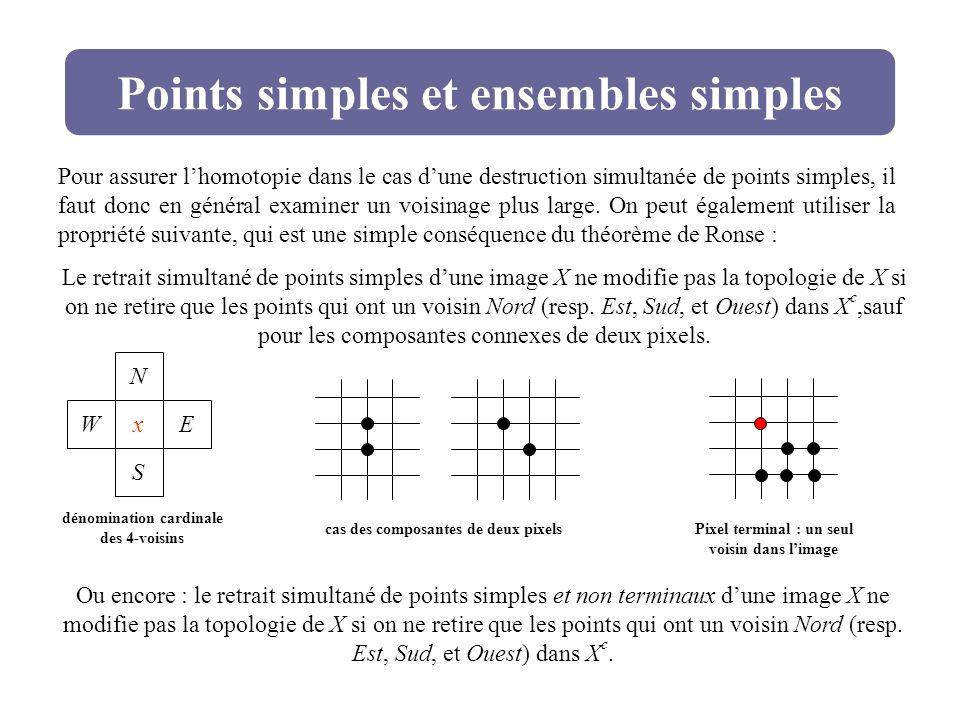 Points simples et ensembles simples Le retrait simultané de points simples dune image X ne modifie pas la topologie de X si on ne retire que les point