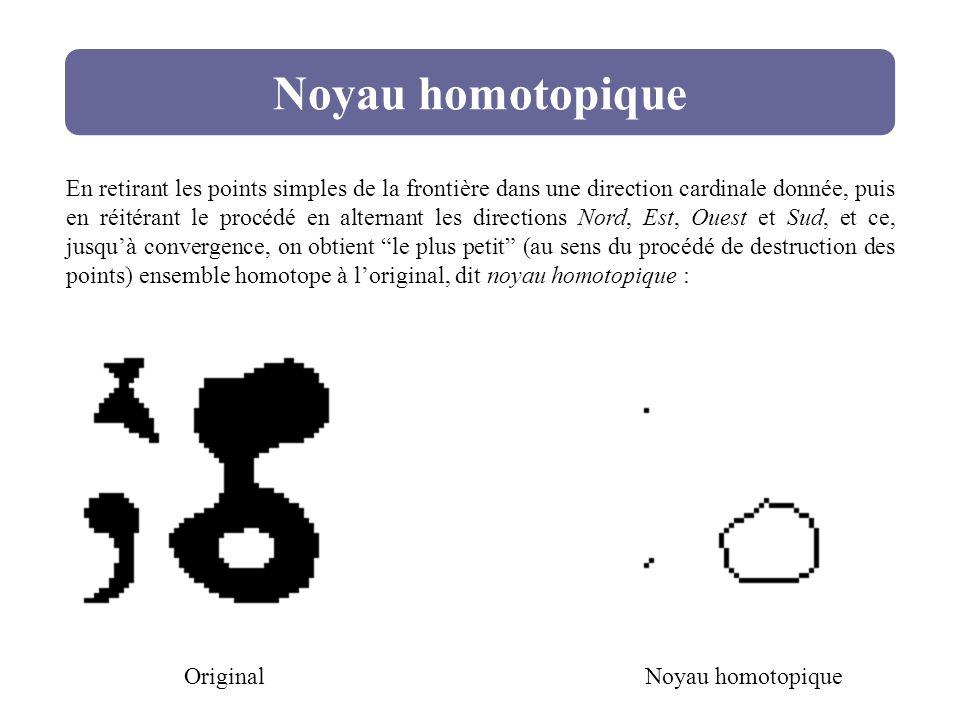 Noyau homotopique Original En retirant les points simples de la frontière dans une direction cardinale donnée, puis en réitérant le procédé en alterna