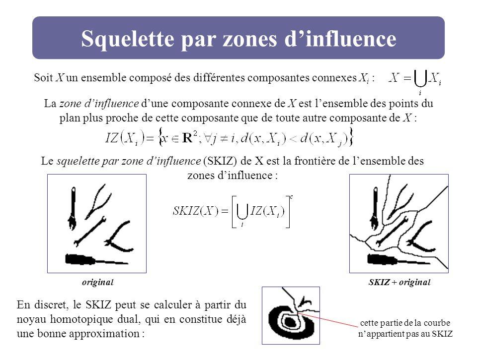 Squelette par zones dinfluence Soit X un ensemble composé des différentes composantes connexes X i : La zone dinfluence dune composante connexe de X e