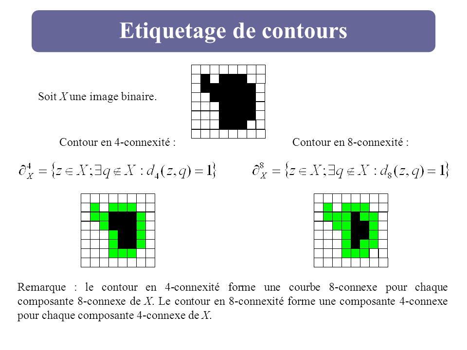Etiquetage de contours Soit X une image binaire. Contour en 4-connexité : Contour en 8-connexité : Remarque : le contour en 4-connexité forme une cour