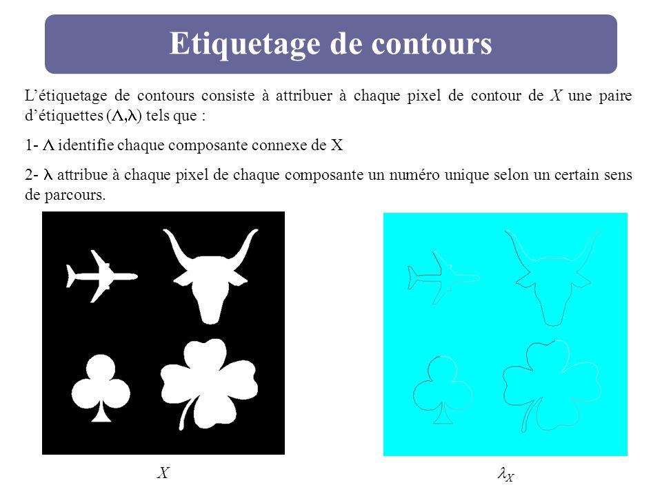 Etiquetage de contours Létiquetage de contours consiste à attribuer à chaque pixel de contour de X une paire détiquettes ( ) tels que : 1- identifie c