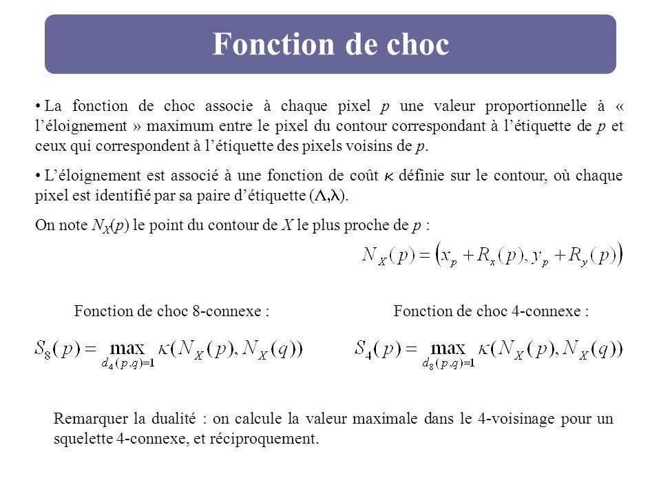 Fonction de choc La fonction de choc associe à chaque pixel p une valeur proportionnelle à « léloignement » maximum entre le pixel du contour correspo