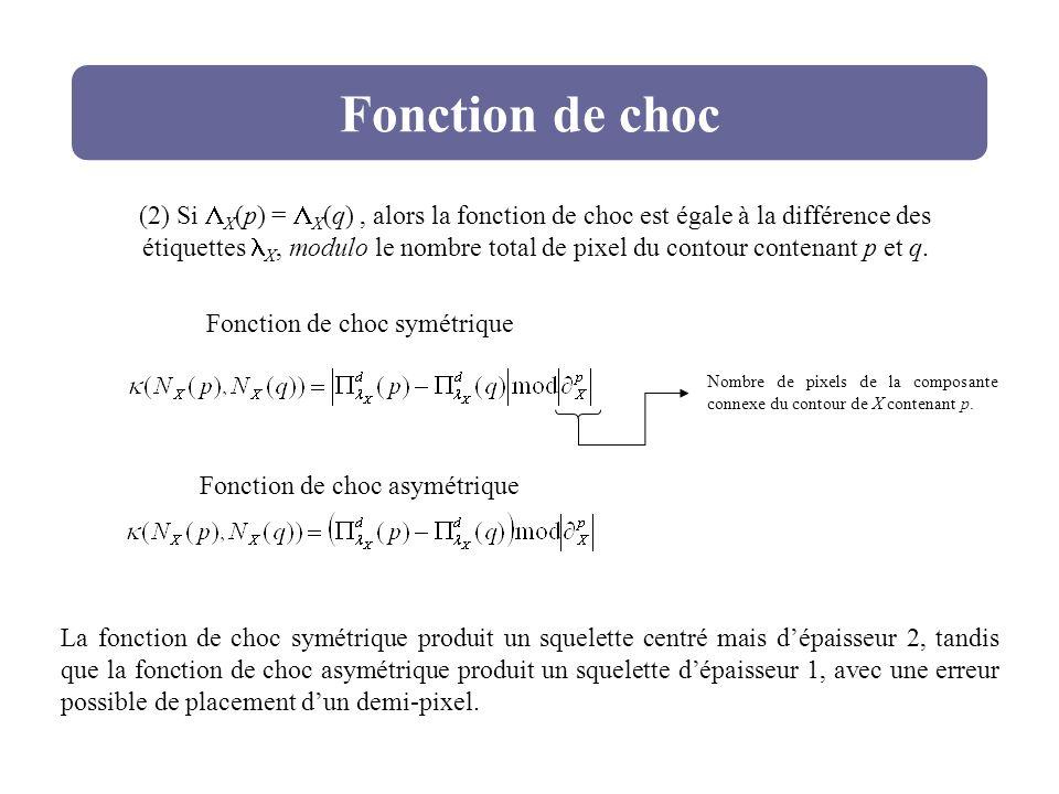 Fonction de choc (2) Si X (p) = X (q), alors la fonction de choc est égale à la différence des étiquettes X, modulo le nombre total de pixel du contou