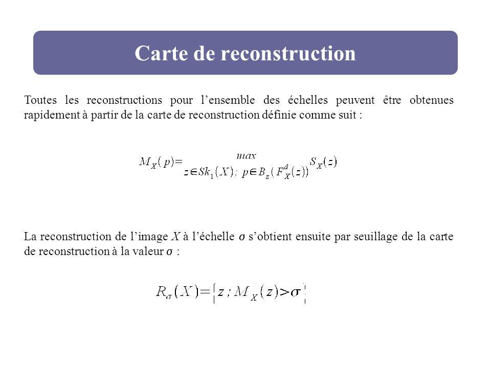 Carte de reconstruction La reconstruction de limage X à léchelle sobtient ensuite par seuillage de la carte de reconstruction à la valeur : Toutes les