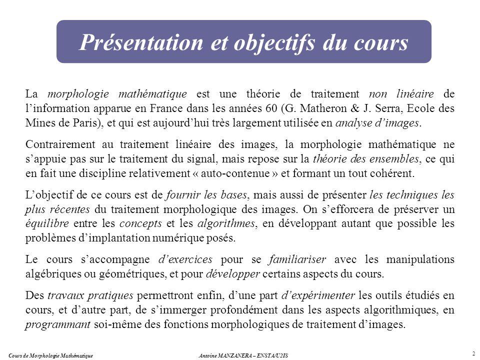 2 Présentation et objectifs du cours La morphologie mathématique est une théorie de traitement non linéaire de linformation apparue en France dans les