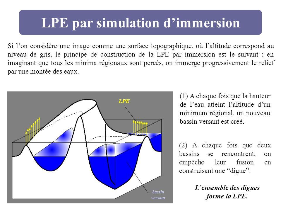 LPE par simulation dimmersion Si lon considère une image comme une surface topographique, où laltitude correspond au niveau de gris, le principe de co