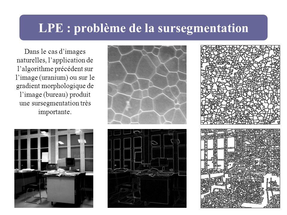 LPE : problème de la sursegmentation Dans le cas dimages naturelles, lapplication de lalgorithme précédent sur limage (uranium) ou sur le gradient mor