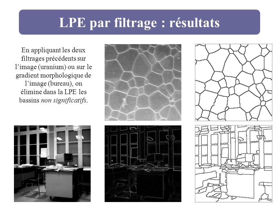 LPE par filtrage : résultats En appliquant les deux filtrages précédents sur limage (uranium) ou sur le gradient morphologique de limage (bureau), on