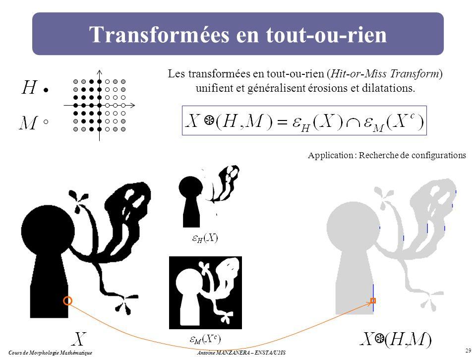 Antoine MANZANERA – ENSTA/U2IS 29 Transformées en tout-ou-rien Application : Recherche de configurations Les transformées en tout-ou-rien (Hit-or-Miss