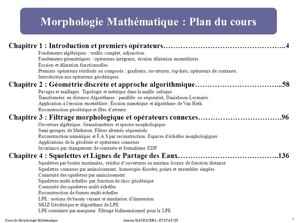 Morphologie Mathématique : Plan du cours Chapitre 1 : Introduction et premiers opérateurs…………………………………………..4 Fondements algébriques : treillis complet
