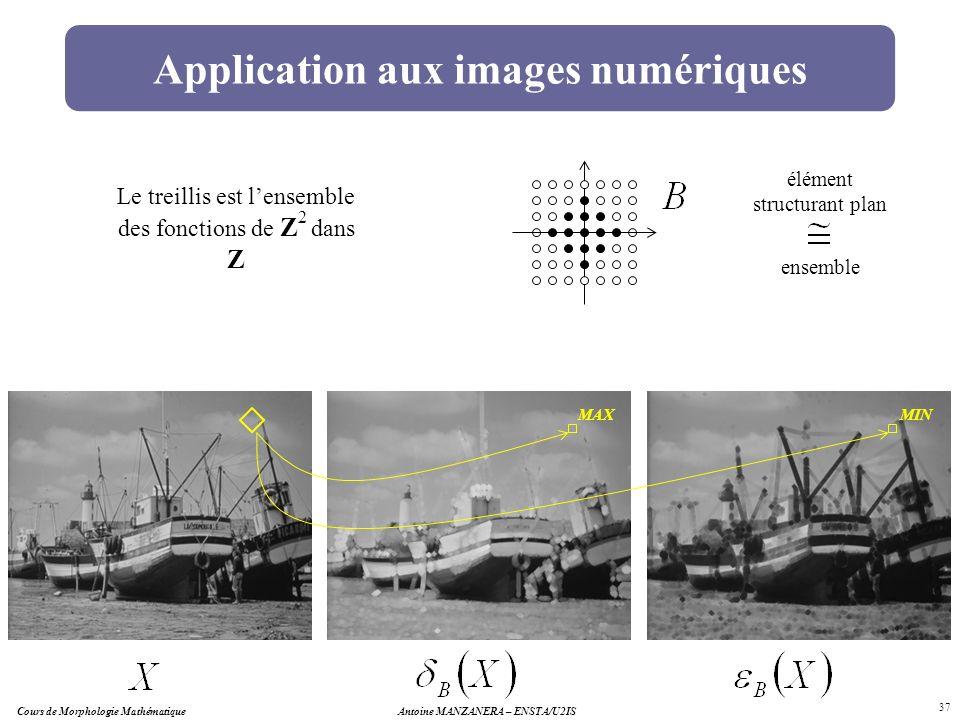 Antoine MANZANERA – ENSTA/U2IS 37 MAX Application aux images numériques Le treillis est lensemble des fonctions de Z 2 dans Z élément structurant plan