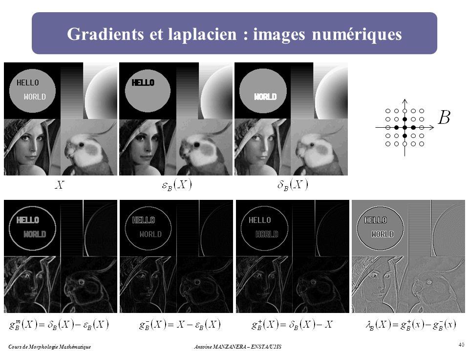 Antoine MANZANERA – ENSTA/U2IS 40 Gradients et laplacien : images numériques Cours de Morphologie Mathématique