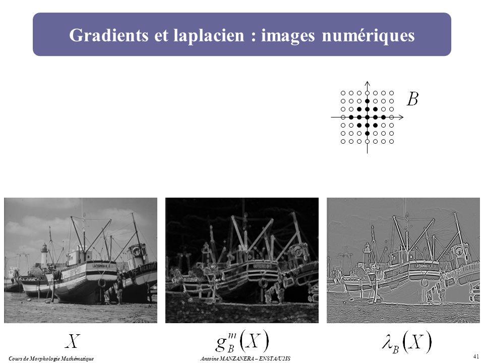 Antoine MANZANERA – ENSTA/U2IS 41 Gradients et laplacien : images numériques Cours de Morphologie Mathématique