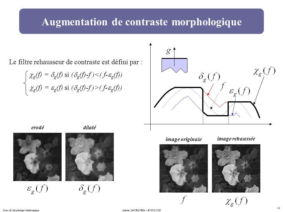 Antoine MANZANERA – ENSTA/U2IS 42 Augmentation de contraste morphologique Le filtre rehausseur de contraste est défini par : g (f) = g (f) si ( g (f)-