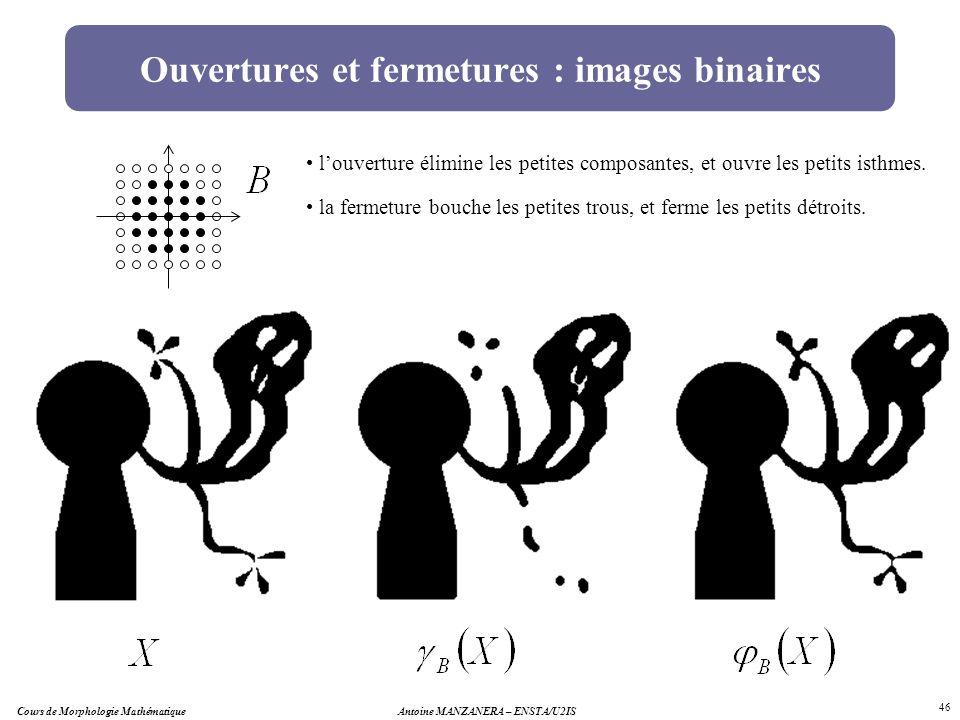 Antoine MANZANERA – ENSTA/U2IS 46 Ouvertures et fermetures : images binaires louverture élimine les petites composantes, et ouvre les petits isthmes.