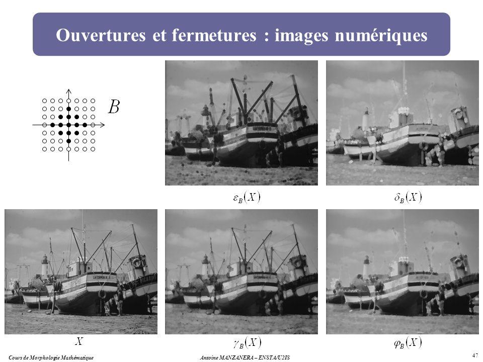 Antoine MANZANERA – ENSTA/U2IS 47 Ouvertures et fermetures : images numériques Cours de Morphologie Mathématique