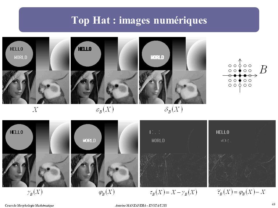 Antoine MANZANERA – ENSTA/U2IS 49 Top Hat : images numériques Cours de Morphologie Mathématique