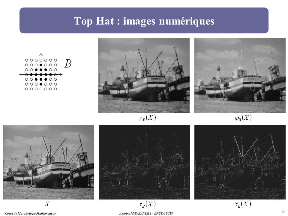 Antoine MANZANERA – ENSTA/U2IS 50 Top Hat : images numériques Cours de Morphologie Mathématique