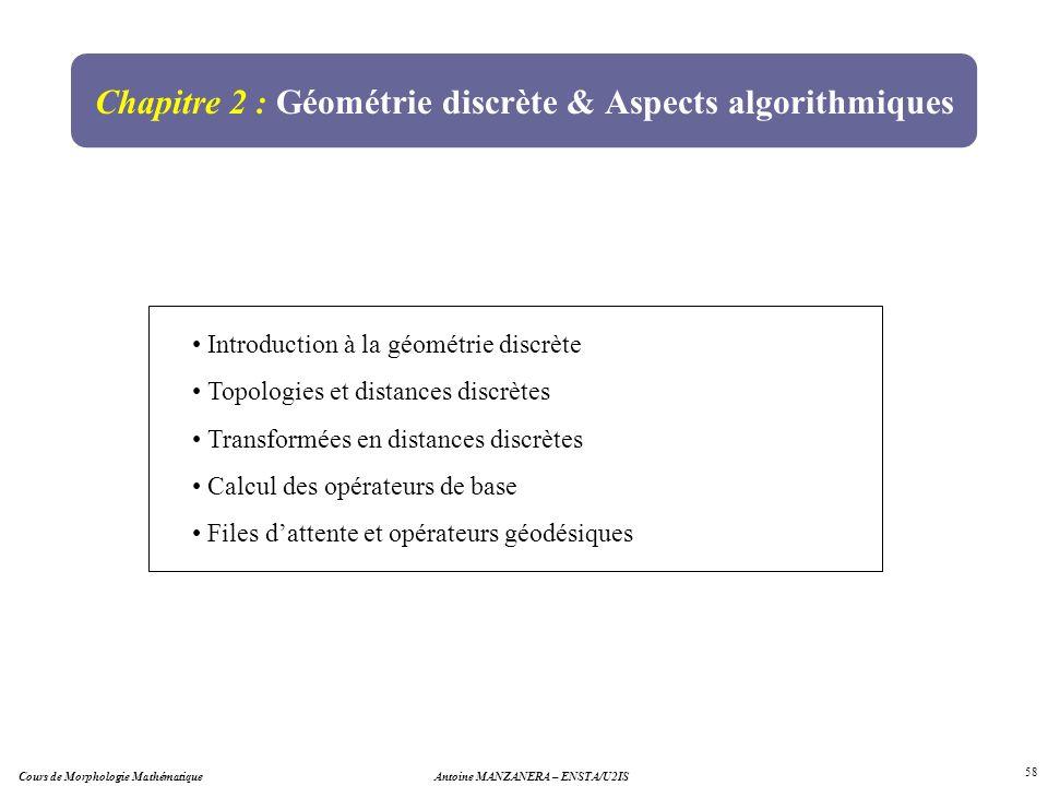 Cours de Morphologie MathématiqueAntoine MANZANERA – ENSTA/U2IS 58 Chapitre 2 : Géométrie discrète & Aspects algorithmiques Introduction à la géométri