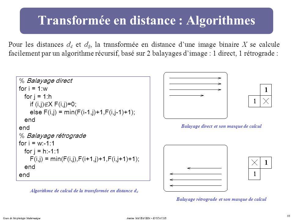 Cours de Morphologie MathématiqueAntoine MANZANERA – ENSTA/U2IS 66 Transformée en distance : Algorithmes Pour les distances d 4 et d 8, la transformée