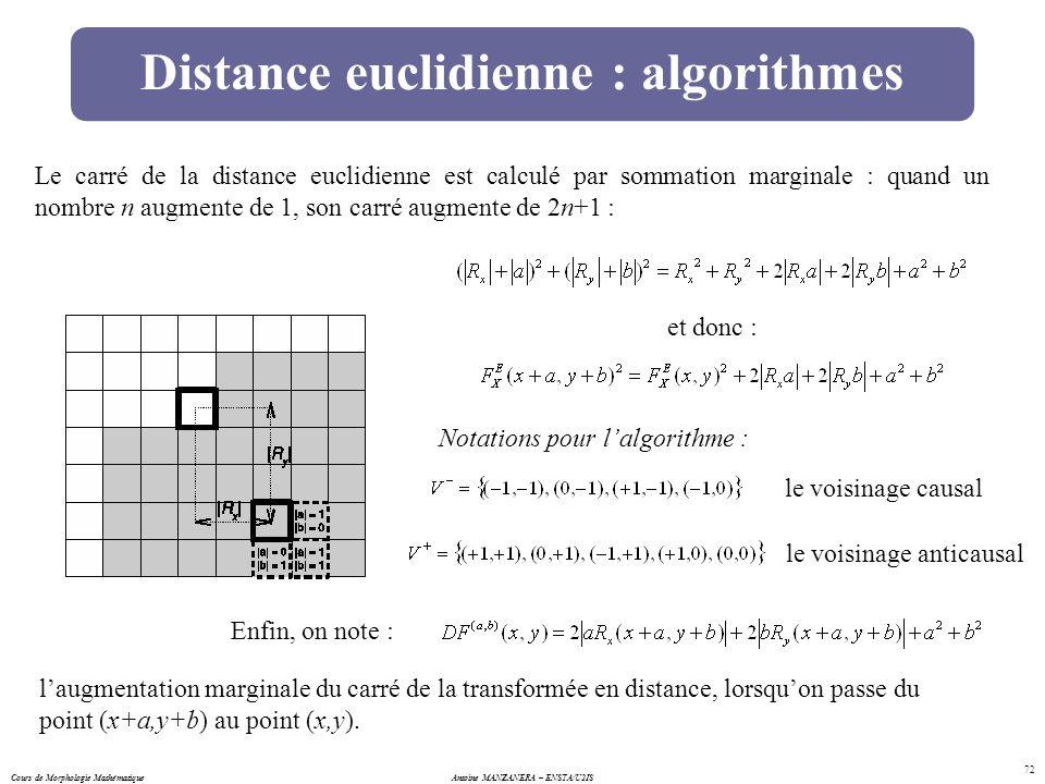 Cours de Morphologie MathématiqueAntoine MANZANERA – ENSTA/U2IS 72 Distance euclidienne : algorithmes Le carré de la distance euclidienne est calculé