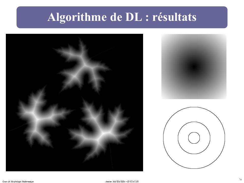 Cours de Morphologie MathématiqueAntoine MANZANERA – ENSTA/U2IS 74 Algorithme de DL : résultats