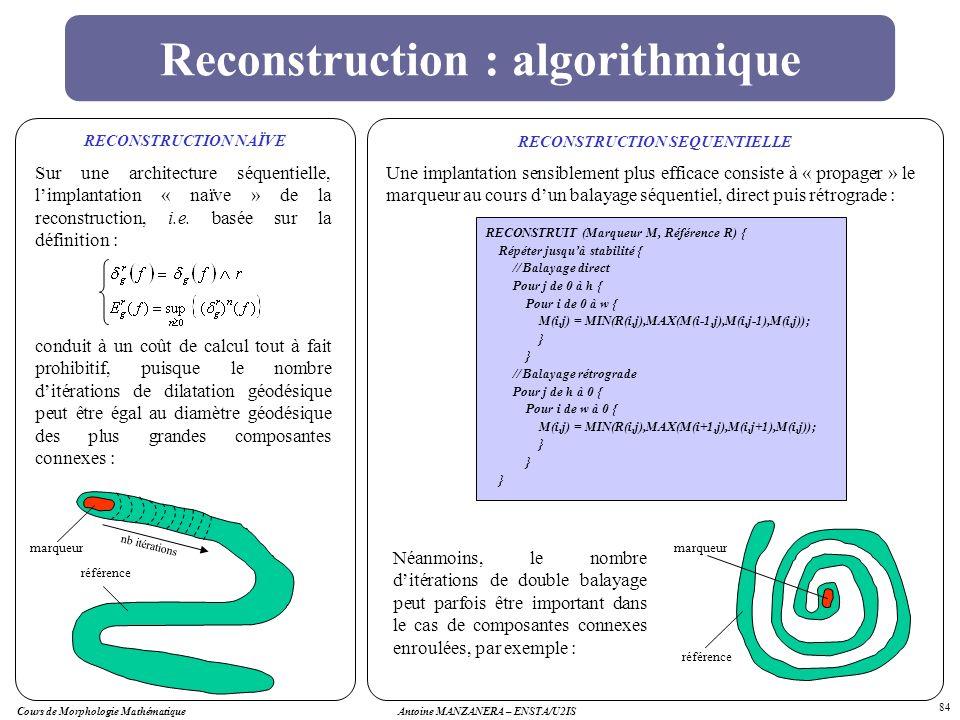 Cours de Morphologie MathématiqueAntoine MANZANERA – ENSTA/U2IS 84 Reconstruction : algorithmique Sur une architecture séquentielle, limplantation « n