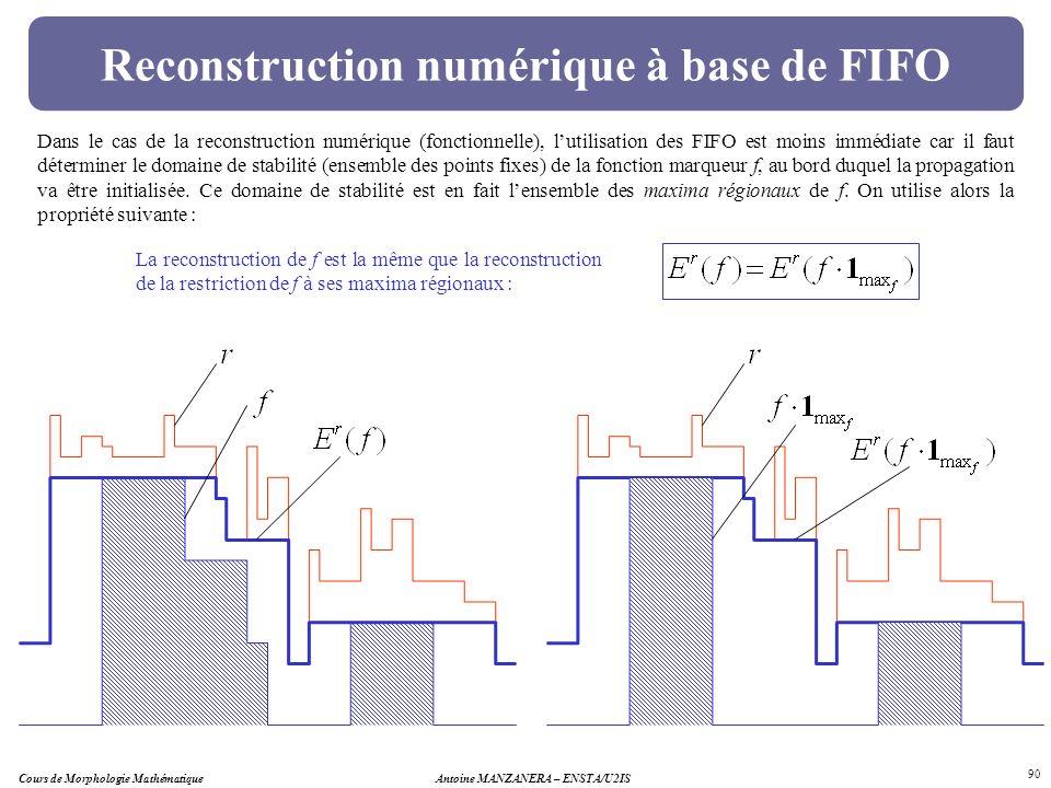 Cours de Morphologie MathématiqueAntoine MANZANERA – ENSTA/U2IS 90 Reconstruction numérique à base de FIFO Dans le cas de la reconstruction numérique