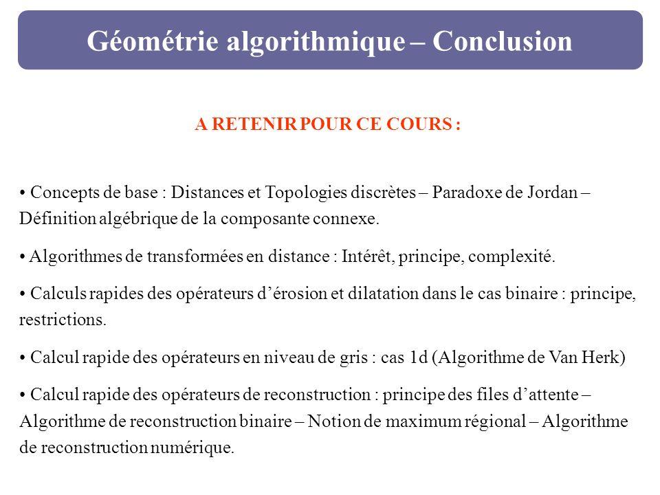 Géométrie algorithmique – Conclusion A RETENIR POUR CE COURS : Concepts de base : Distances et Topologies discrètes – Paradoxe de Jordan – Définition