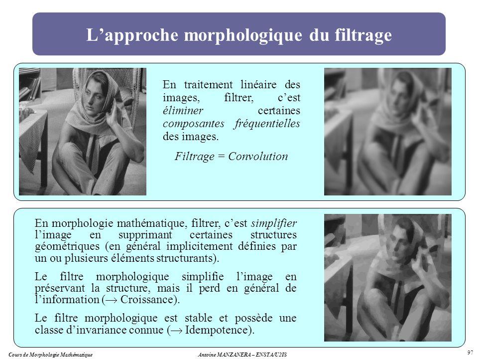 Cours de Morphologie MathématiqueAntoine MANZANERA – ENSTA/U2IS 97 Lapproche morphologique du filtrage En morphologie mathématique, filtrer, cest simp