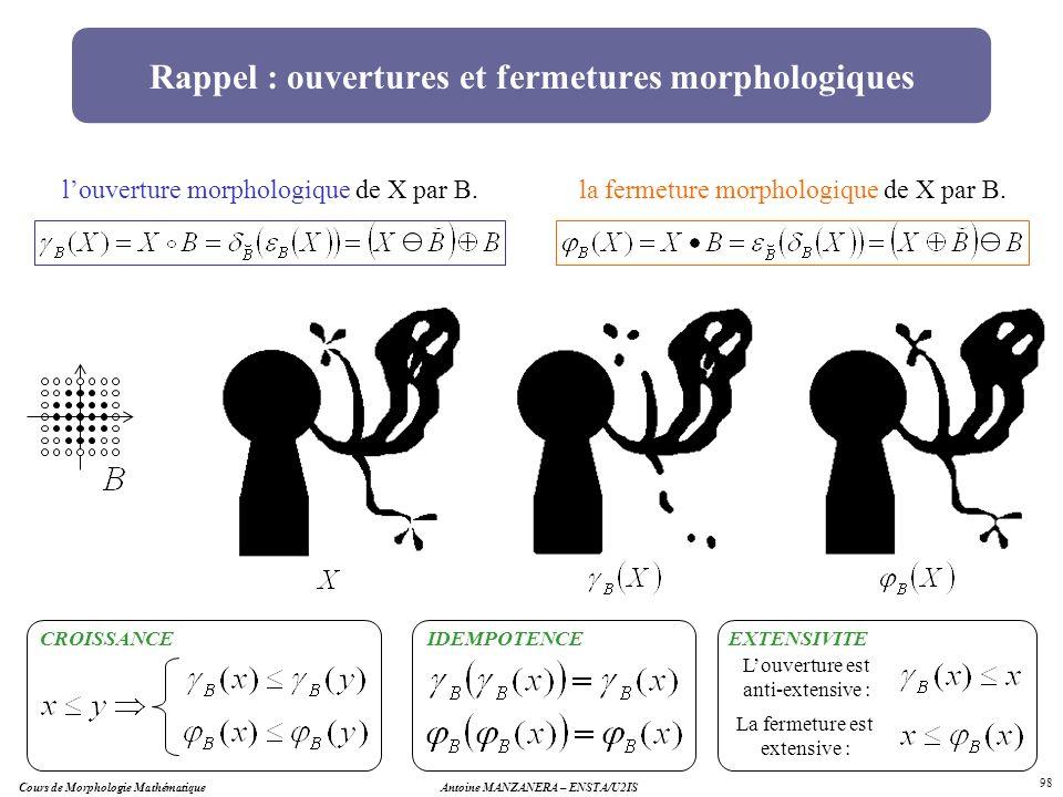 Cours de Morphologie MathématiqueAntoine MANZANERA – ENSTA/U2IS 98 Rappel : ouvertures et fermetures morphologiques louverture morphologique de X par