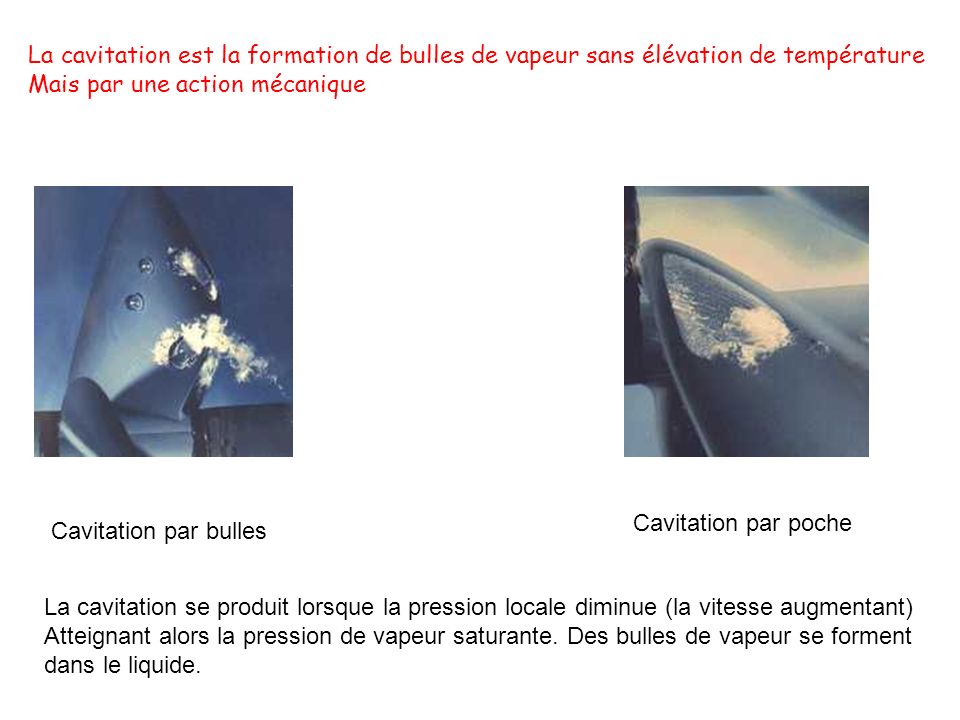 Cavitation par bulles Cavitation par poche La cavitation se produit lorsque la pression locale diminue (la vitesse augmentant) Atteignant alors la pre