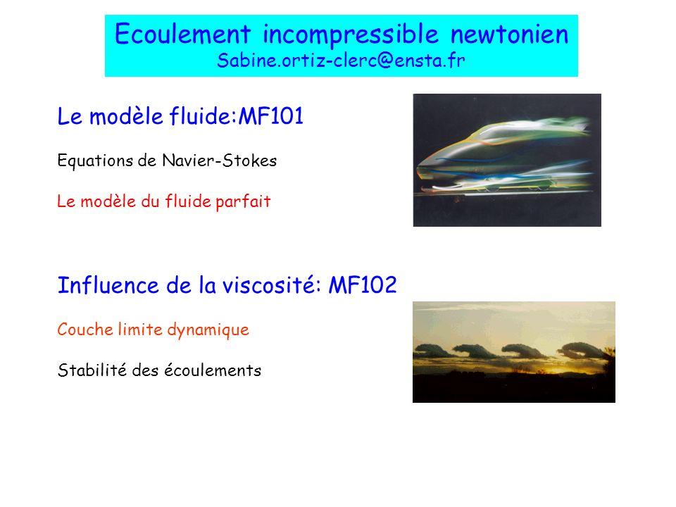 Le modèle fluide:MF101 Equations de Navier-Stokes Le modèle du fluide parfait Influence de la viscosité: MF102 Couche limite dynamique Stabilité des é