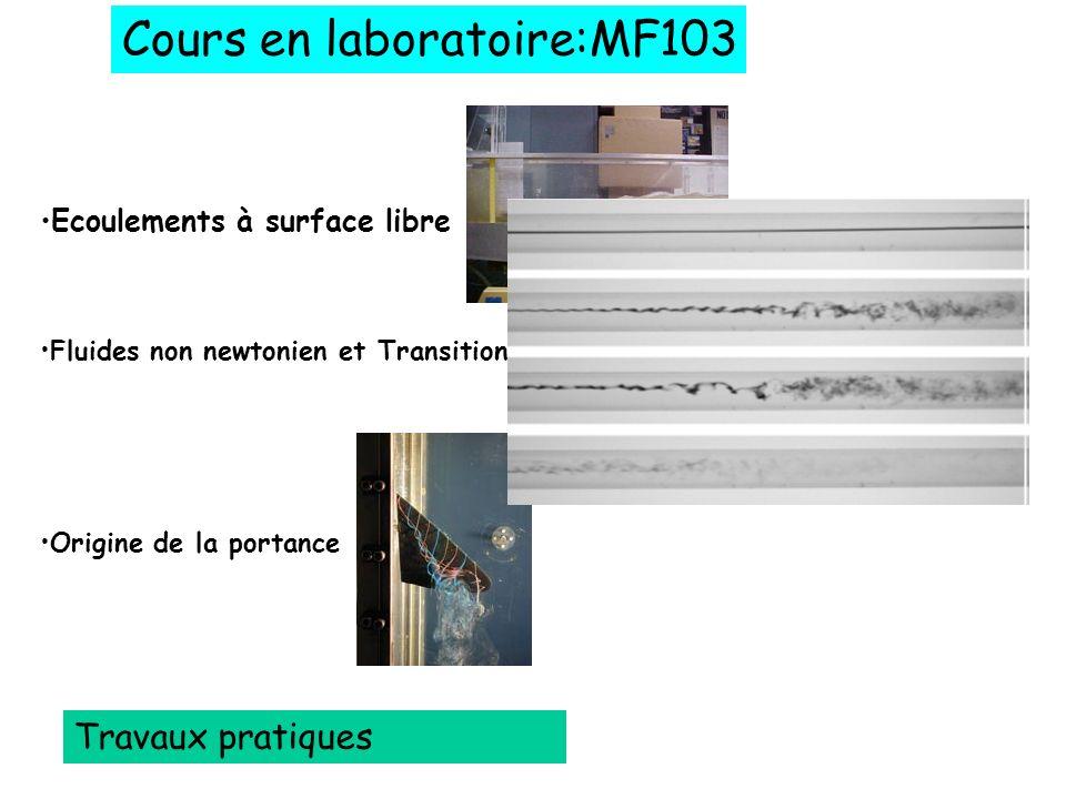 Cours en laboratoire:MF103 Travaux pratiques Ecoulements à surface libre Fluides non newtonien et Transition à la turbulence Origine de la portance