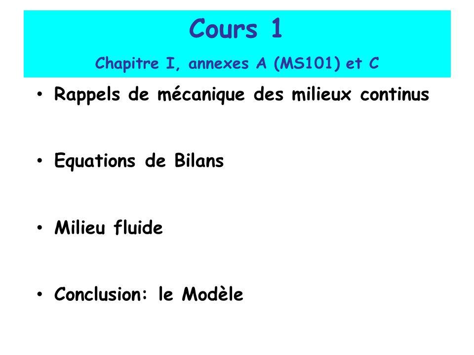 Cours 1 Chapitre I, annexes A (MS101) et C Rappels de mécanique des milieux continus Equations de Bilans Milieu fluide Conclusion: le Modèle