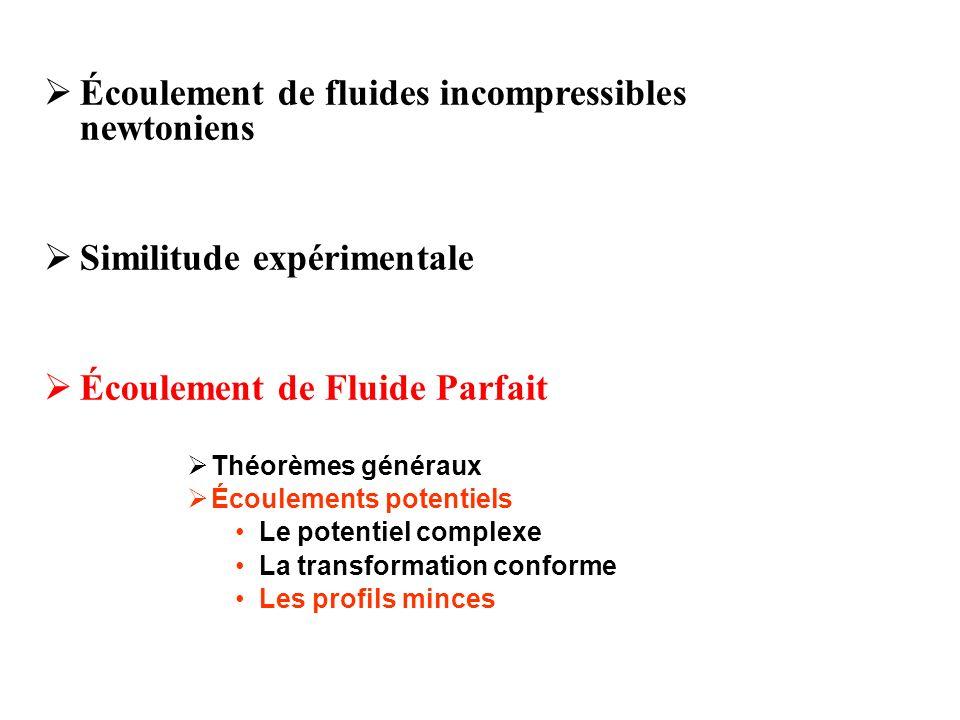 Écoulement de fluides incompressibles newtoniens Similitude expérimentale Écoulement de Fluide Parfait Théorèmes généraux Écoulements potentiels Le po