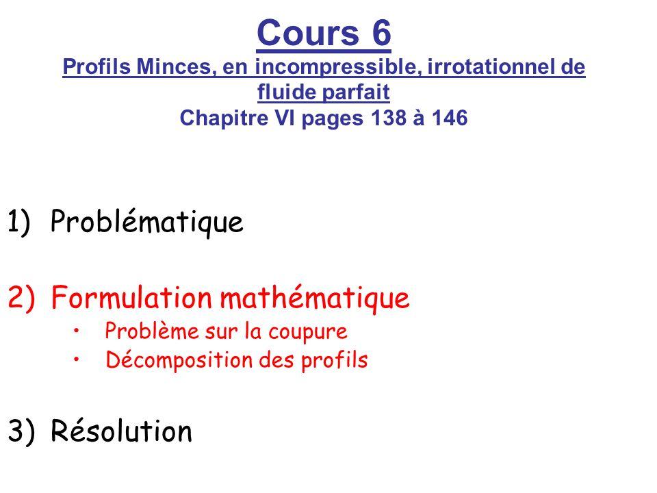 Cours 6 Profils Minces, en incompressible, irrotationnel de fluide parfait Chapitre VI pages 138 à 146 1)Problématique 2)Formulation mathématique Prob
