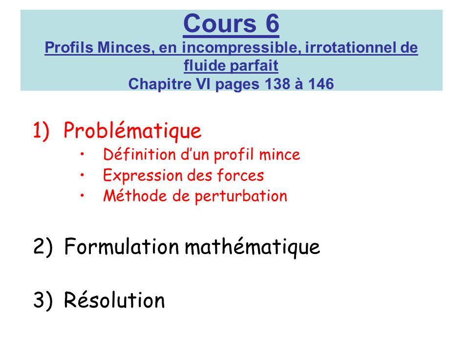 Cours 6 Profils Minces, en incompressible, irrotationnel de fluide parfait Chapitre VI pages 138 à 146 1)Problématique Définition dun profil mince Exp